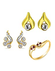 Combo Of Two Pair Of Earring Studs And A Finger Ring Made With Crystal And CZ For Women CO1104102G