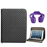 DMG Zippered Portfolio Cover Stand Case With Accessory Pockets For Mitashi Sky Tab 2 (Textured Black) + Tablet...