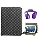 DMG Zippered Portfolio Cover Stand Case With Accessory Pockets For Lenovo A7-50 Tablet (Textured Black) + Tablet...