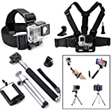 Qkoo Accessories Kit Bundle For Gopro Hero4 Black/Silver HD Hero 4/3+/3/2/1 SJ4000 SJ5000 Camera Smartphone IPhone Samsung Sony HTC LG In Diving Surfing Skiing Climing Cycling Yachting Snowboarding Ice Skating Sledding Snowmobiling Parachuting Rowing Runn