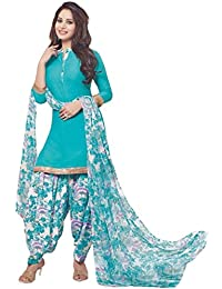 AASRI Women Turquoise Blue Synthetic Lace Work Salwar Suit