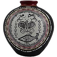 "Madhubani Black & White Terracotta Hand Painted Vase Round 5""(Assorted Color)"