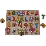 I Square Enterprises' Wooden Alphabet Puzzle Blocks For Kids In Multi Color