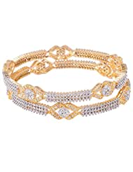 Bharat Sales Gold Plated White Alloy Bangles For Women - B00YPAT11A
