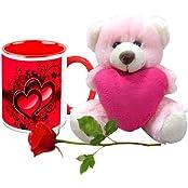 Valentine Gifts HomeSoGood Tough Bond Of Love White Ceramic Coffee Mug With Teddy & Red Rose - 325 Ml