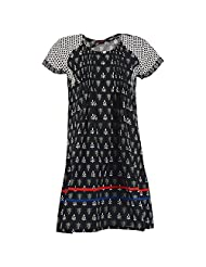 Karni Women's Cotton Black & White Kurti - B00VA9T5TC