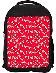 """Snoogg I Love You Red Pattern Casual Laptop Backpak Fits All 15 - 15.6"""" Inch Laptops"""