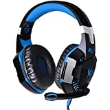 Qisan Over-ear Game Gaming Headphone Headset Earphone Headband With Mic Stereo Bass LED Light For PC Game(Black...