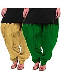 Women's BEIGE-GREEN Cotton Patiala Salwar