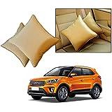 Car Vastra Cushion Set Beige Color For Car & Home For-Hyundai Creta -Set Of 2Pcs