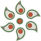 Nandini Acrylic Selfie Decorative Rangolis (13 Cm X 9 Cm X 1 Cm, Green & Red)
