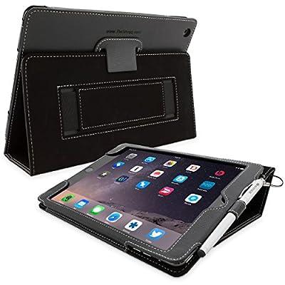 Snugg社製 レザーケース 伸縮性ハンドストラップ、スタイラスループ付きフリップスタンドカバー (iPad Air 2, ブラック)
