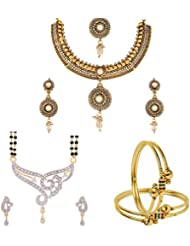 Zeneme Antique Traditional White Necklace, Mangalsutra And Bangle Combo Set -3 Jewellery For Women And Girls
