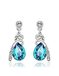 Wearyourfashion Ocean Blue Swarovski Elements Platinum Plated Water Drop Earrings For Women