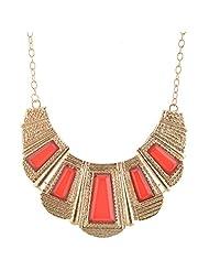 Mask Fashions Gold Metal Trapezoidal Stone Necklace For Women - B00P6J2AGW