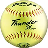 Dudley USSSA Thunder SY FP Yellow Synthetic Cover, Blue Stitch