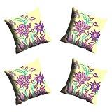 MeSleep Digitally Printed Flower Micro Fabric 4 Piece Cushion Cover Set - Yellow