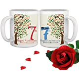 TIED RIBBONS 7th Marriage Anniversary Special Gift Set Of 2 Coffee Mugs With Rose(325ml Each Multicolor)