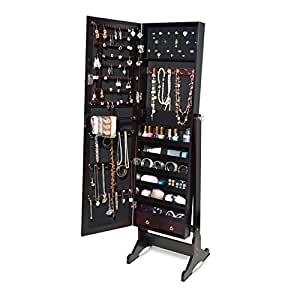 Amazon.com: GLS Brown Mirrored Jewelry Armoire with Lock