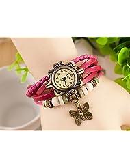 GT Gala Time Vintage Retro Beaded Bracelet Style Women Pink Leather Wrist Butterfly Watch