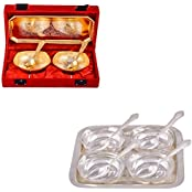 Silver & Gold Plated 2 Mini Square Bowl With Spoon And Tray And Silver Plated 4 Square Bowl With Spoon And Tray