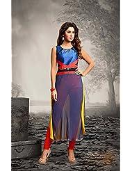 Deepkala Silk Heritage Women's Shaded Blue And Purple Georgette Printed Embellished Kurti