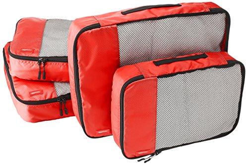 AmazonBasics Lot de 4sacoches de rangement pour bagage 2xTailleM/2xTailleL, Rouge