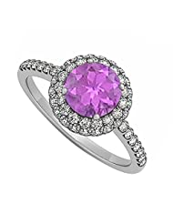 Amethyst And Cubic Zirconia Double Halo Engagement Ring In 925 Sterling Silver Perfect Price