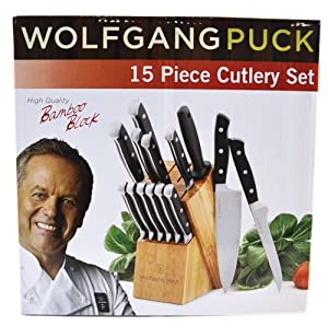 wolfgang puck kitchen knives amazon com wolfgang puck 15 piece cutlery set block knife sets kitchen dining 7884
