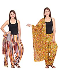 Rama Set Of 2 Printed Multicolour Cotton Full Patiala With Dupatta Set