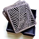 BSQUARE Handcrafted Wooden Coasters With Customised Wood Box Tea Coasters Dark Walnut BSCO01