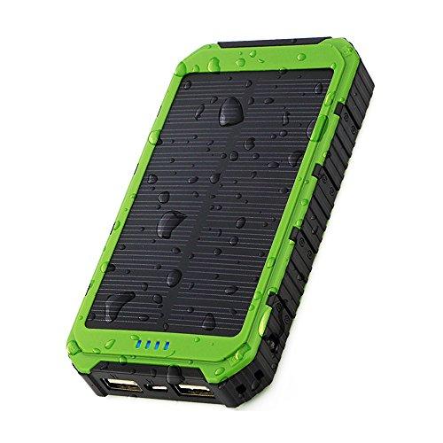 X-DRAGON ソーラーチャージャー 10000mAh ポータブル ソーラー充電器 頑丈で耐衝撃 デュアルUSB ソーラーバッテリーチャージャー iPhone 6 Plus 5S 5C 5 4S/iPod/Samsung Galaxy S6 S6 Edge S5 S4 S3 Note 4 3/LG G3/Nexus/HTC One M9/Goproカメラ/GPS等マルチデバイス対応(グリーン)