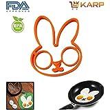 KARP™ Rabbit Shape Silicone Fried Egg Mold Pancake Rings, Non Stick Bakeware Accessories Kitchen Tools,BPA Free...