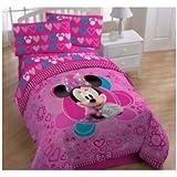 Disney's Minnie Mouse Twin Comforter & Sheet Set (4 Piece Bedding)