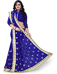Siddeshwary Fab Blue Georgette Floral Embroidered Designer Saree For Women