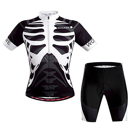 iPretty Set Traje Pantalón de Ciclismo MTB Maillot de Bici Jersey para Ciclista Mangas Cortes Transpirable Negro Talla M