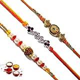 Ethnic Arts Send Rakhee Gift Set Of 3 Designer Rudraksh Crystal Pearl Studded Rakhis Raksha Bandhan Gift For Brother...