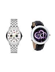 Gledati Men's White Dial And Foster's Women's Black Dial Analog Watch Combo_ADCOMB0001799