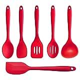 Joyoldelf 6 Piece Premium Silicone Kitchen Baking Set - Spatulas, Spoons & Turner - Heat Resistant Cooking Utensil