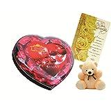 Skylofts Chocolate Valentine's Heart Box With A Cute Teddy & A Birthday Card