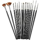 15Pcs Black Nail Art Acrylic UV Gel Design Brush Set (Color: Black)