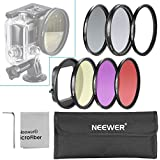 Neewer 58mm Filter Kit For Gopro Hero 3: (1)58mm Lens Filter Ring Adapter + (6)Filters(Red + Yellow + Purple +...