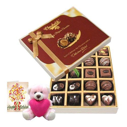 20pc Dark And Milk Chocolate Box With Birthday Card And Teddy - Chocholik Belgium Chocolates