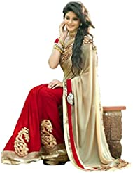 SRP Fashion Selection Women's Georgette Saree (SRP-1022 B-Half And Half) ,Red And Cream Saree