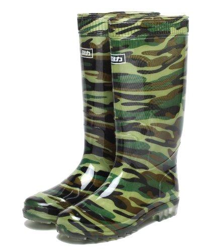LifeStyle 長靴 レインブーツ 防水 迷彩柄 (25.5cm)