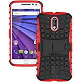 Hi-Gear Tough Hybrid Back Cover Case With Kickstand For Moto G Plus 4th Gen (G4 Plus / 4th Generation) - Red Color