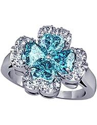 Suvam Swarovski Crystal Floral Design Blue Stone 92.5 Sterling Silver Ring - B01JSB8J18