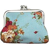 Fashion Canvas Retro Sky Blue Style Change Purse Flower Pattern Coin Pocket