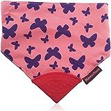 Reversible Butterfly/Solid Pink Soft Cotton Baby Teething Bandana, Teething Bib, Drool Bib