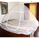Berry*OFFER FREE 1 INSECT KILLER RACKET WITH MOSQUITO NET* Mosquito Net Classic Foldable Mosquito Net(Pink) (Size-Double)